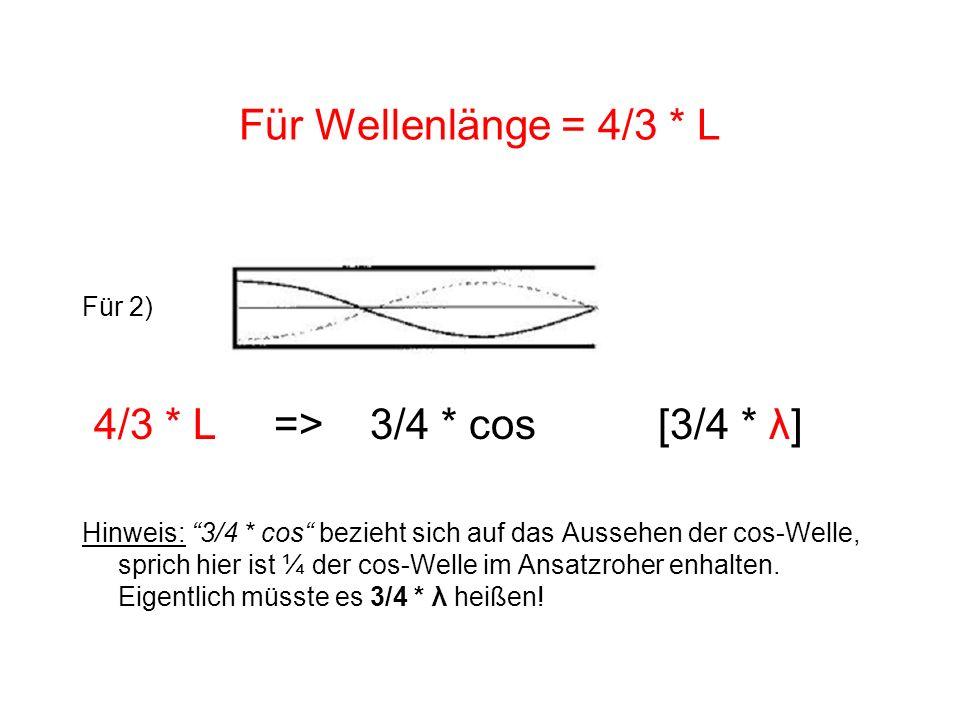 Für Wellenlänge = 4/3 * L 4/3 * L => 3/4 * cos [3/4 * λ] Für 2)